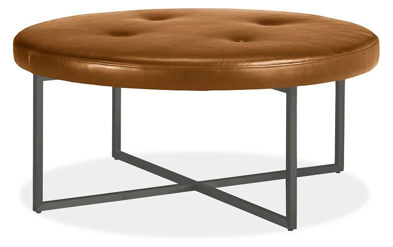 sidney leather round ottomans modern