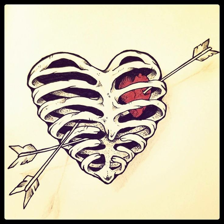 rib cage heart sketch - Google Search | Hearts | Pinterest ...