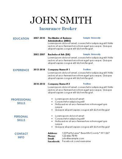 Printable Sample resume, Template and Free printable
