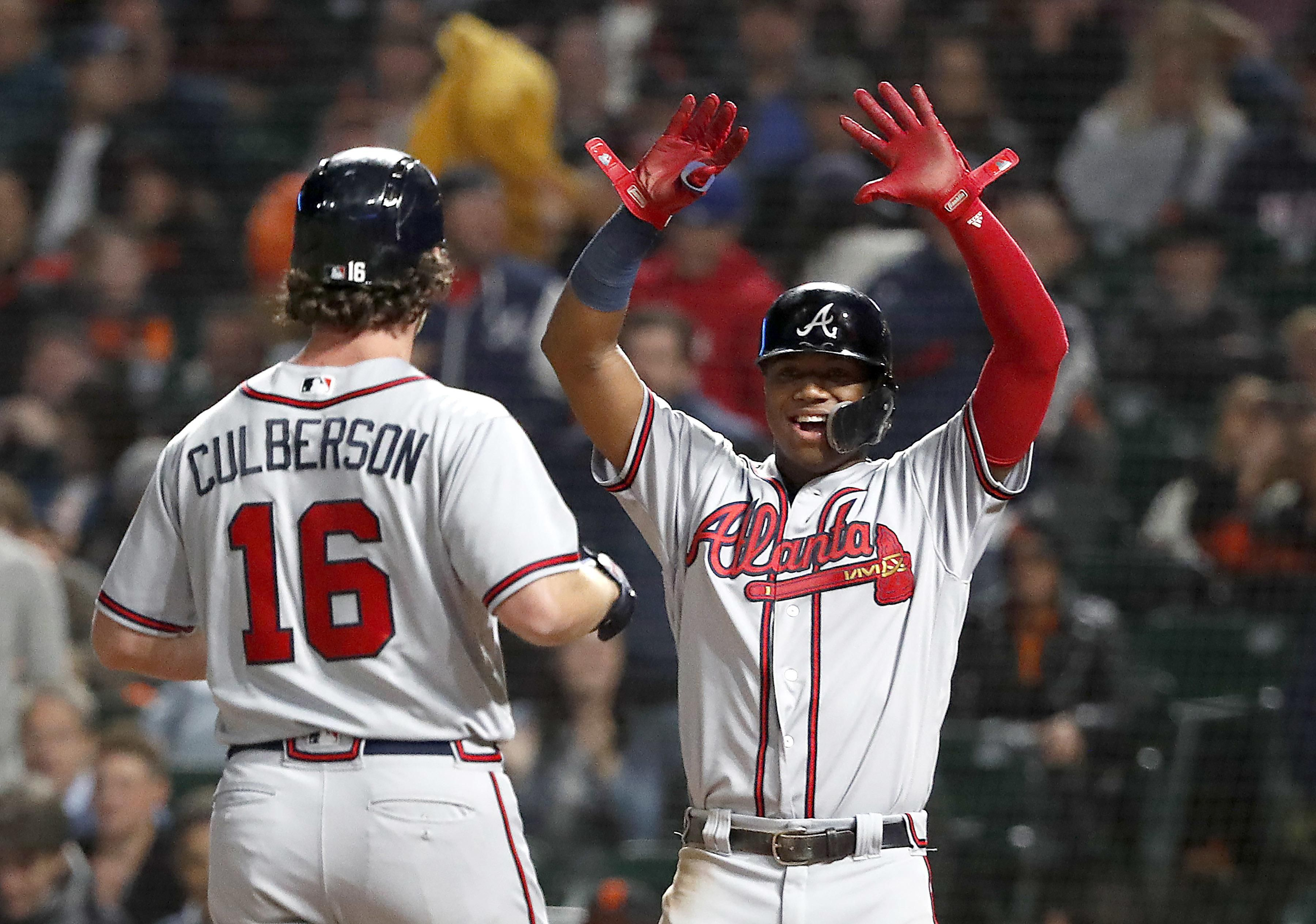 Atlanta Braves Charlie Culberson 16 Celebrates With Teammate Ronald Acuna Jr Right After Hitting A Two R Braves Atlanta Braves America S Favorite Pastime