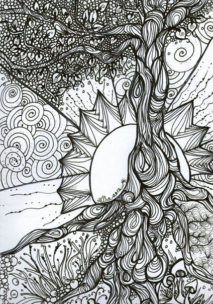 Деревья леса  abstract coloring pages coloring pages