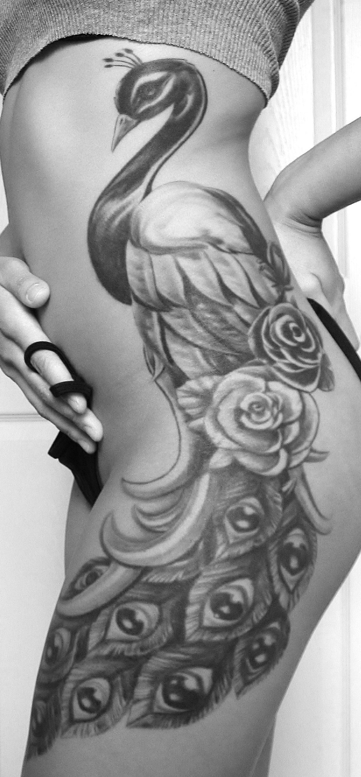 Luxury ornate black-and-white peacock tattoo design ...  |Peacock Tattoo Black And White