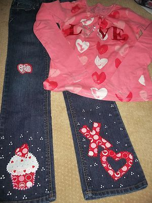 girls size 12 jeans and 14 shirt-appliques- Ebay.com