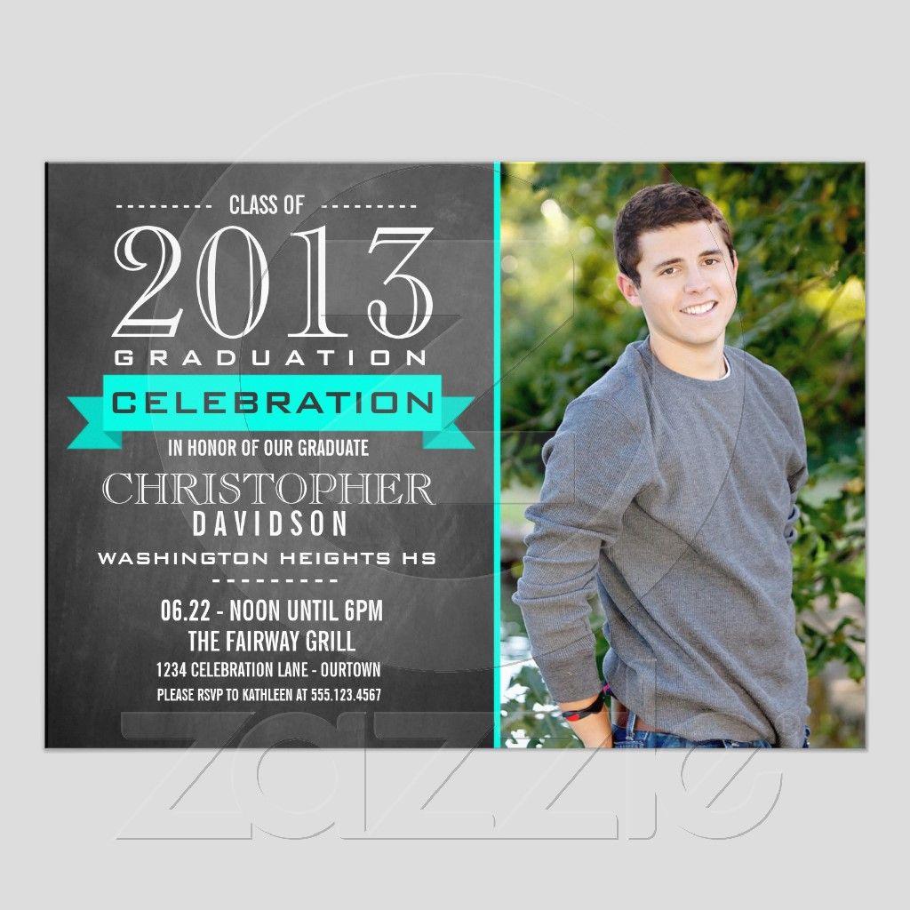 Aqua Trendy Chalkboard Graduation Invitations from Zazzle – Zazzle Graduation Invitations