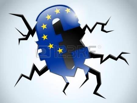wealth flag: Vector - Dinero Euro Crisis europa grieta en el piso Vectores