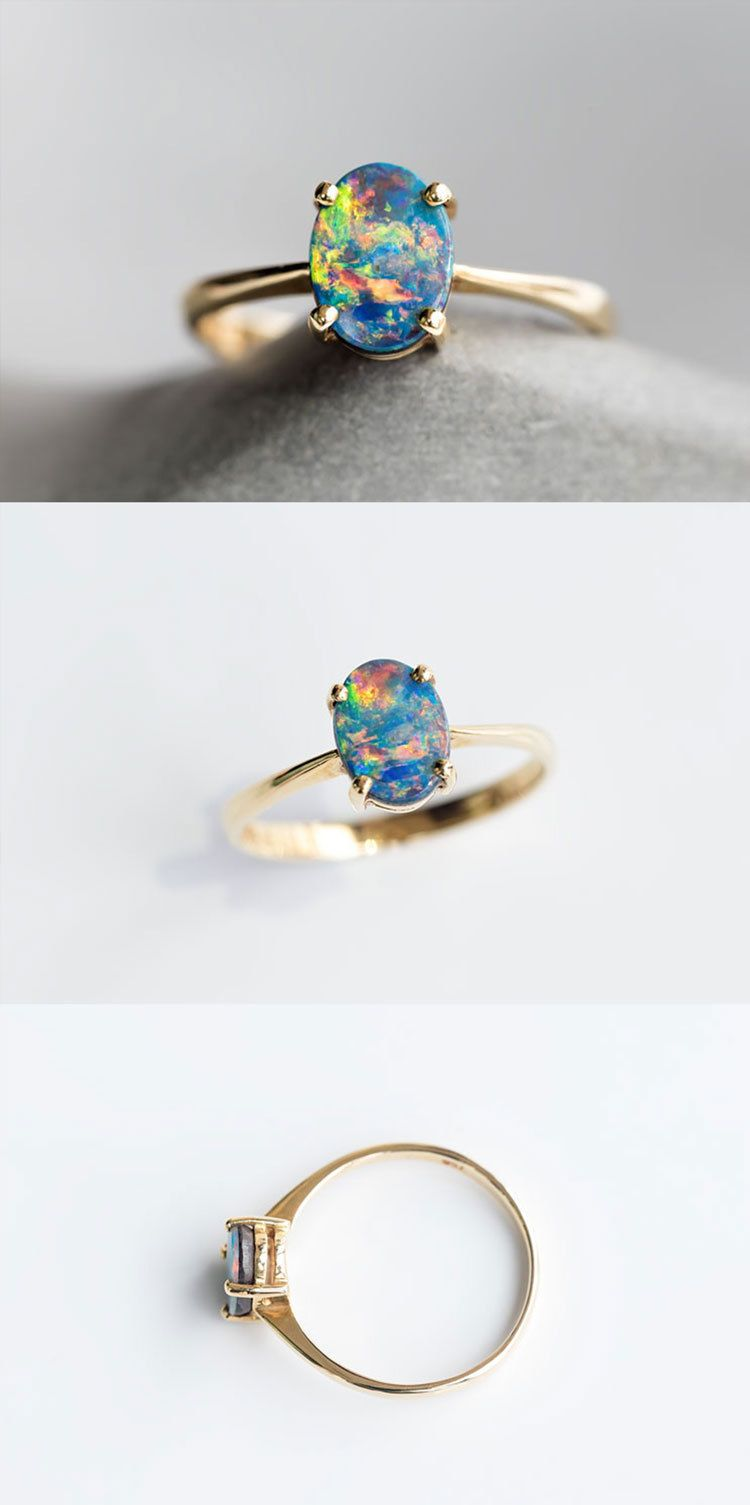rings pinterest rainbow images doublet yellow natural bright round opaljewelries ring gold unique on best engagement australian opal