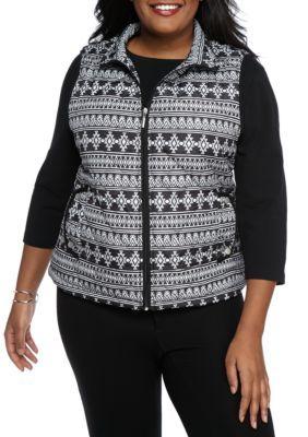 Jane Ashley Black Plus Size Aztec Vest