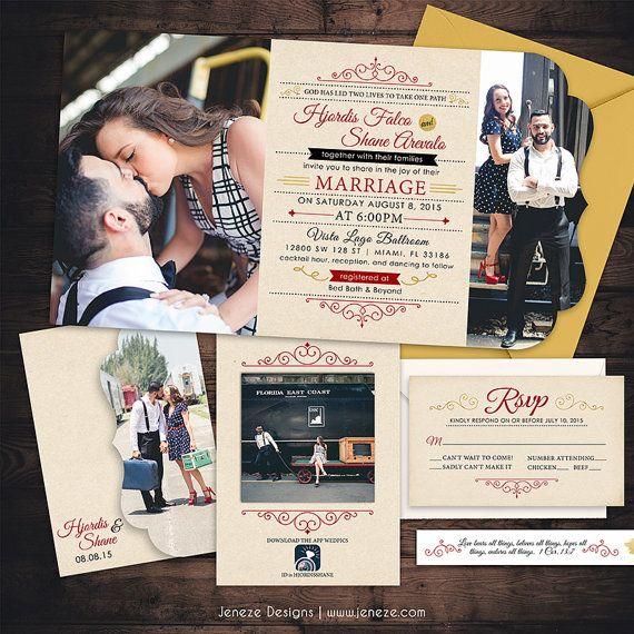 Tri Fold Wedding Invitation