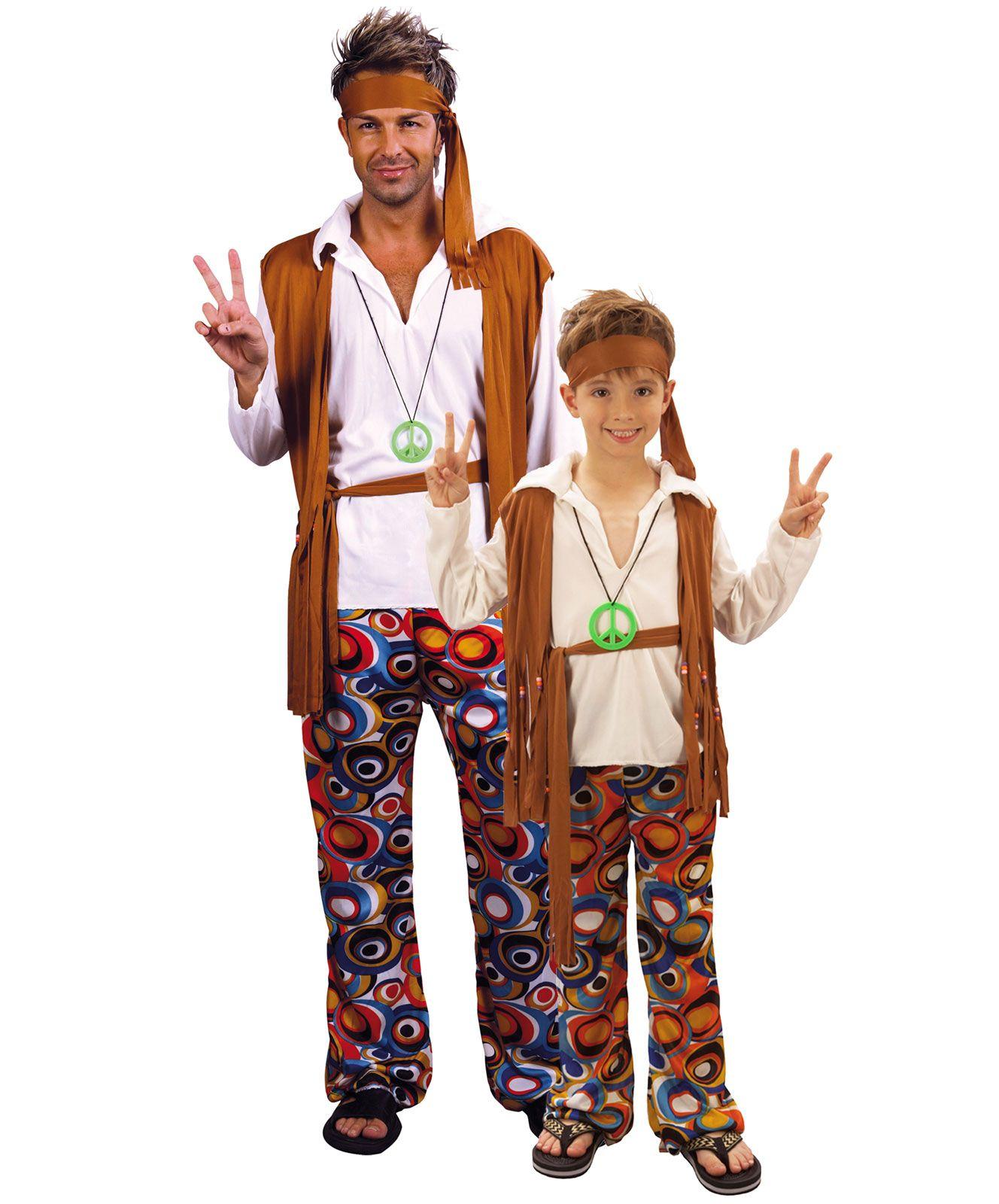 Disfraz de pareja de hippie padre e hijo disponible en for Disfraz de hippie