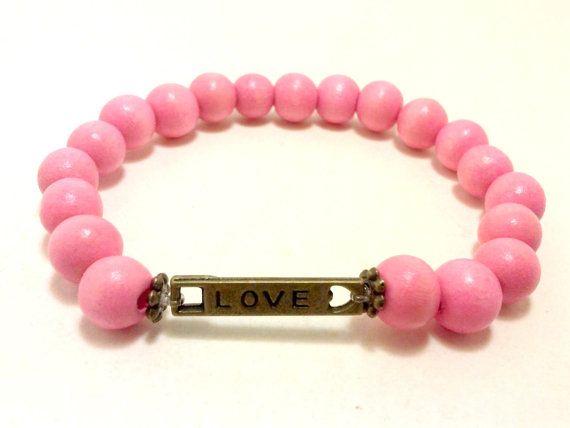 Love Bracelet Pink Wooden Bracelet Charm by ShamisesBlissful