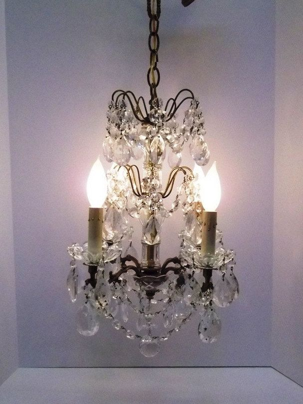 Antique French Crystal Chandelier Glass Rosettes Crystal Strands