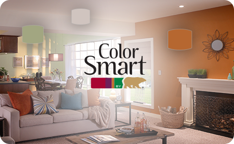 Colorsmart Logo Placed Over A Living Room Image With Orange And Green Walls And Colorful Accessories Wit Relaxing Bedroom Colors Room Colors Dining Room Colors