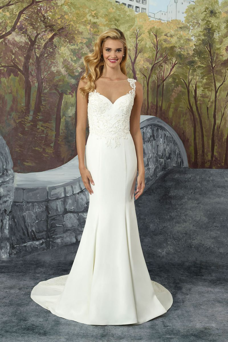 Style 8923 Crepe Fit and Flare Wedding Dress with