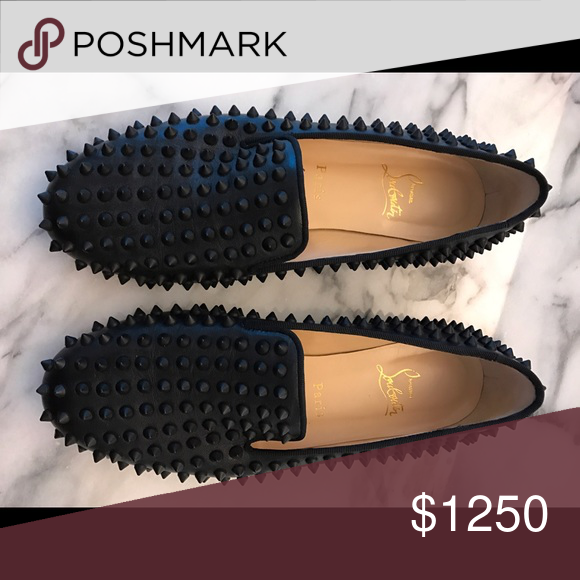 Christian Louboutin moccasins black with studs New New, never worn. Size  39. Super stylish... will sell over for  900 Christian Louboutin Shoes ... 0e5b816729a1