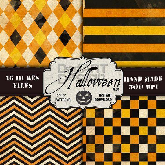 Vintage Halloween Patterns Digital Paper V04 |