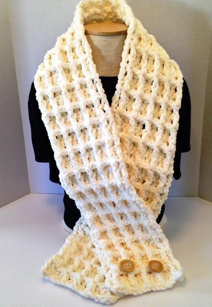 Crochet Pattern Chunky Waffle Stitch Scarf Using Bernat Baby Blanket