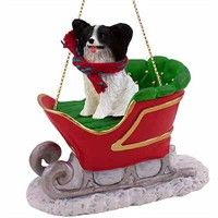 Papillon Sleigh Ride Christmas Ornament Black-White: Deck your halls and trim your tree with this… #PetProducts #PetGifts #AnimalJewelry