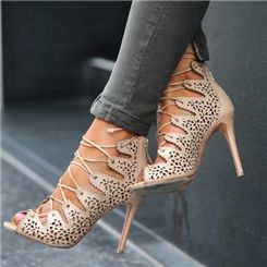 Charming PU Butterfly Cut-Outs Stiletto Sandals