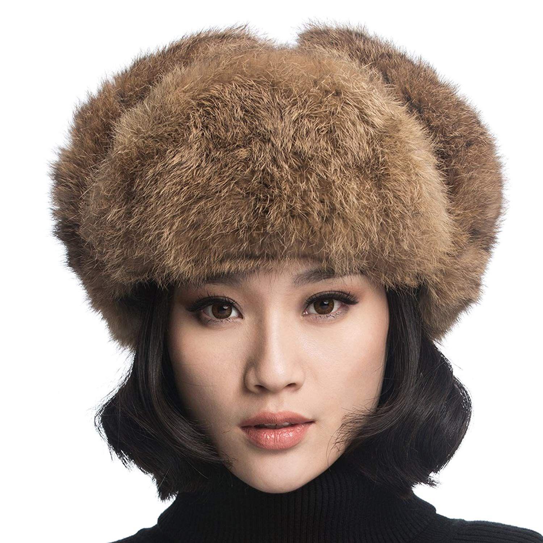 809daed137e URSFUR Womens Fox Fur Russian Ushanka Trapper Hat with Pom Poms ...