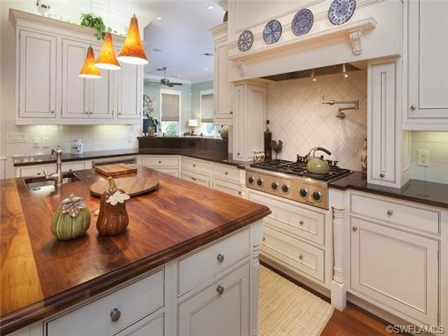 Traditional Center Island Kitchen Wood Block Counter Top On Island Custom Cabinets Naples
