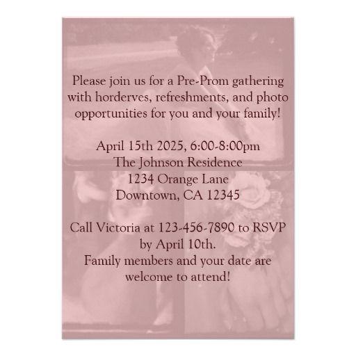 Pre-Prom Party Invitation School Dance Pre-party Pre party - prom invitation templates