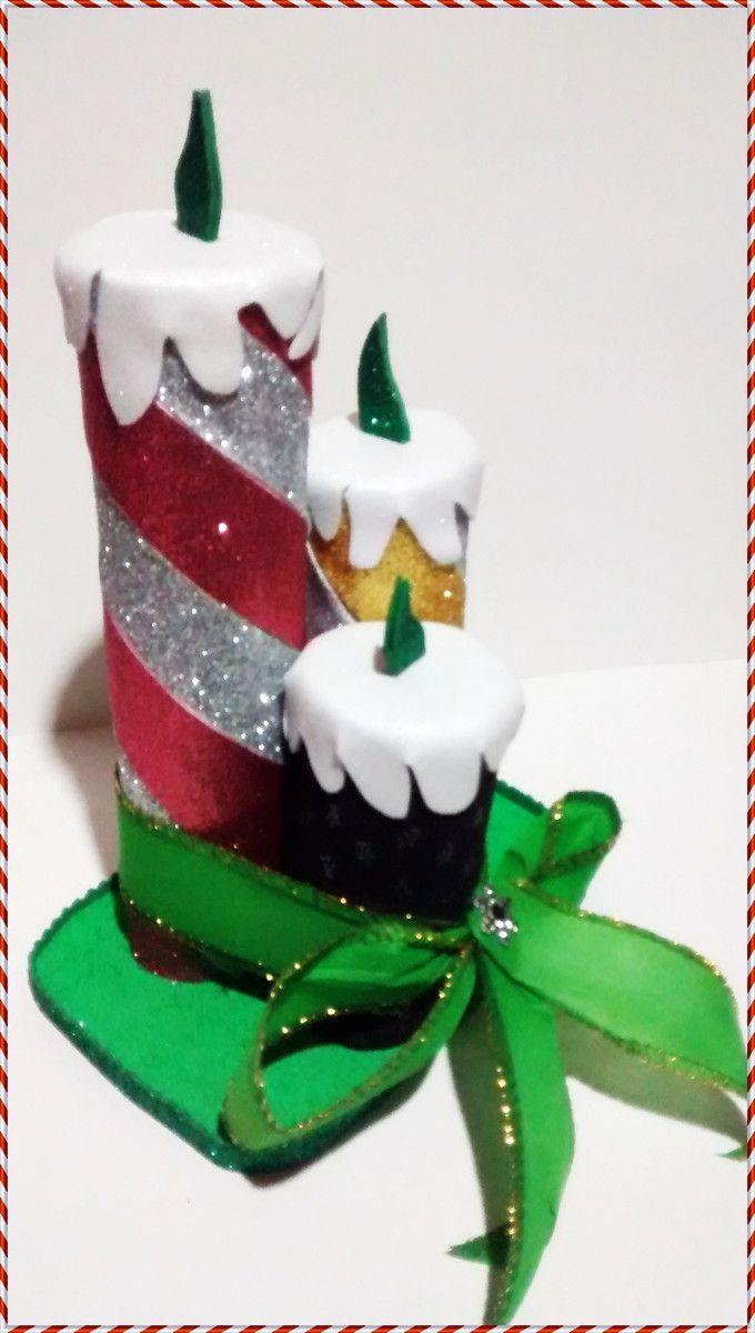 Velas De Natal Em Eva 3d Com Imagens Artesanato De Natal