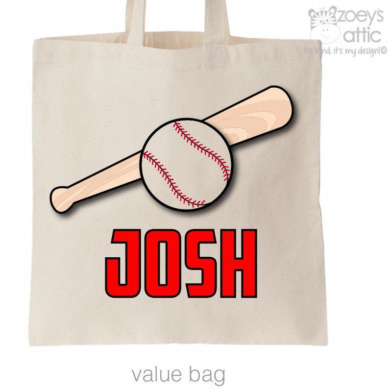 Baseball Bag Baseball And Bat Sports Theme Personalized Tote Bag Baseball Bag Personalized Tote Bags Tote Bag