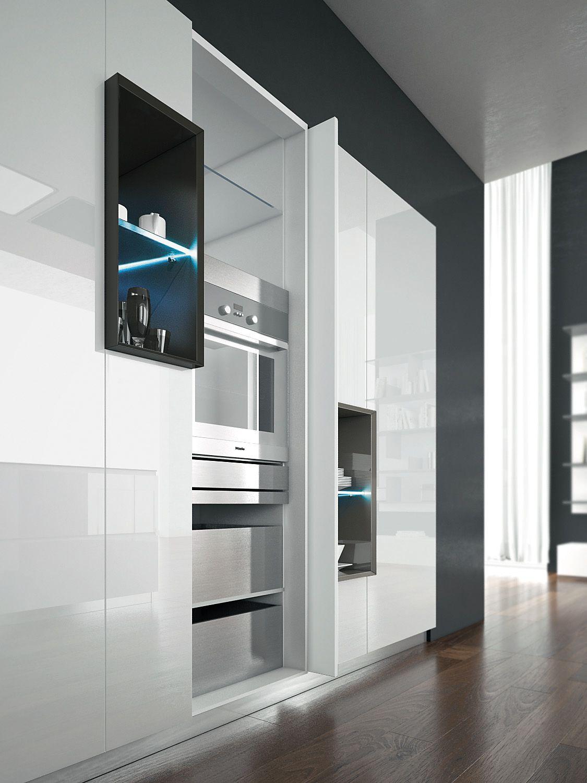 The Shining Glossy Retractable Doors Can Hold Shelves Equipment And Appliances Cozinha Planejada Cozinha Arquitetura