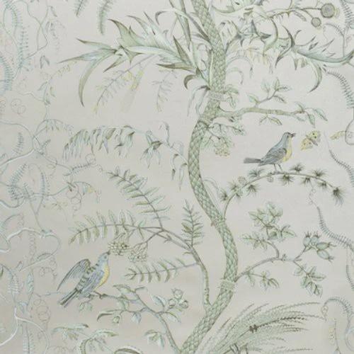 Brunschwig & Fils Bird And Thistle Silver Wallpaper