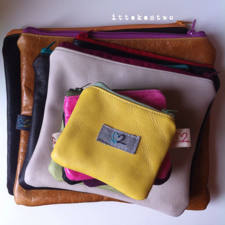 Family of handmade leather pouches...mini, pocket and pouch per tutto. All with spotty, cotton lining.