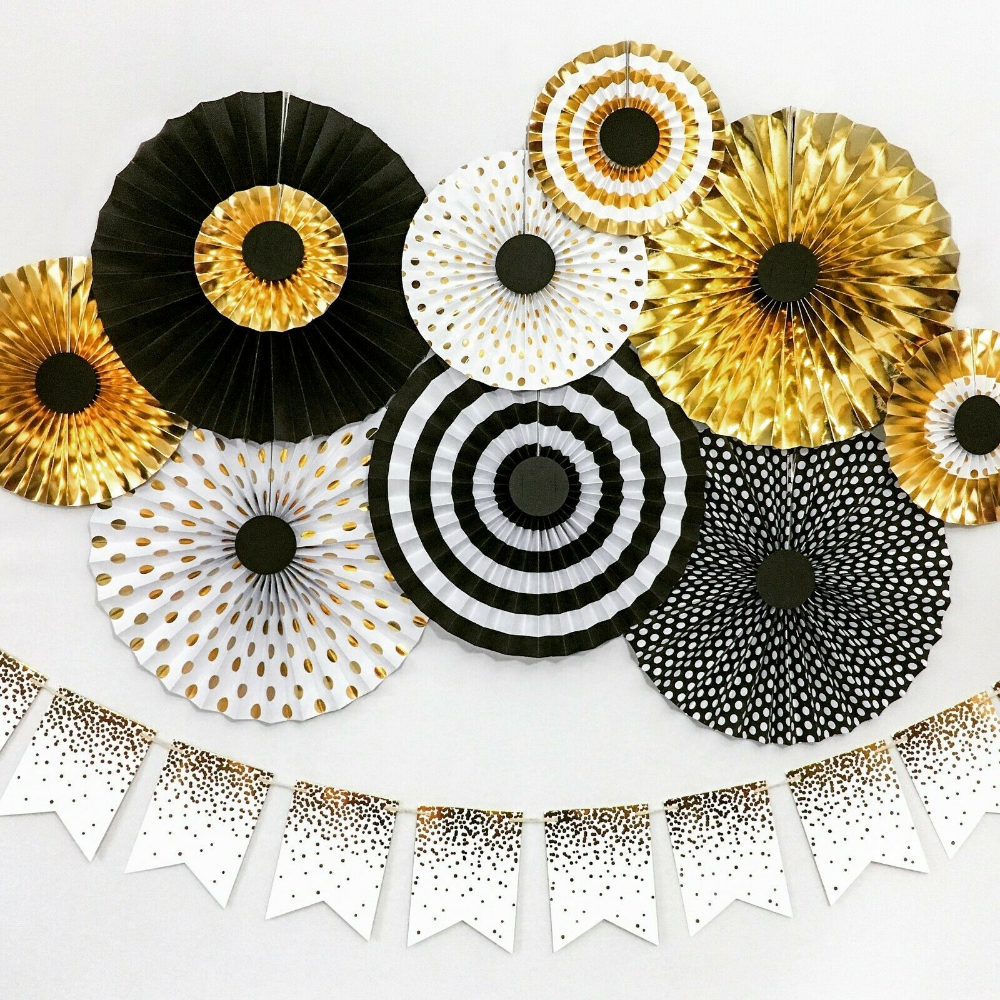 Details About Great Gatsby Black Gold Paper Fans Birthday