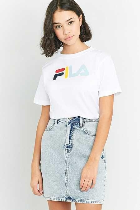 Ellesse White Rainbow Embroidered Logo T Shirt | Urban