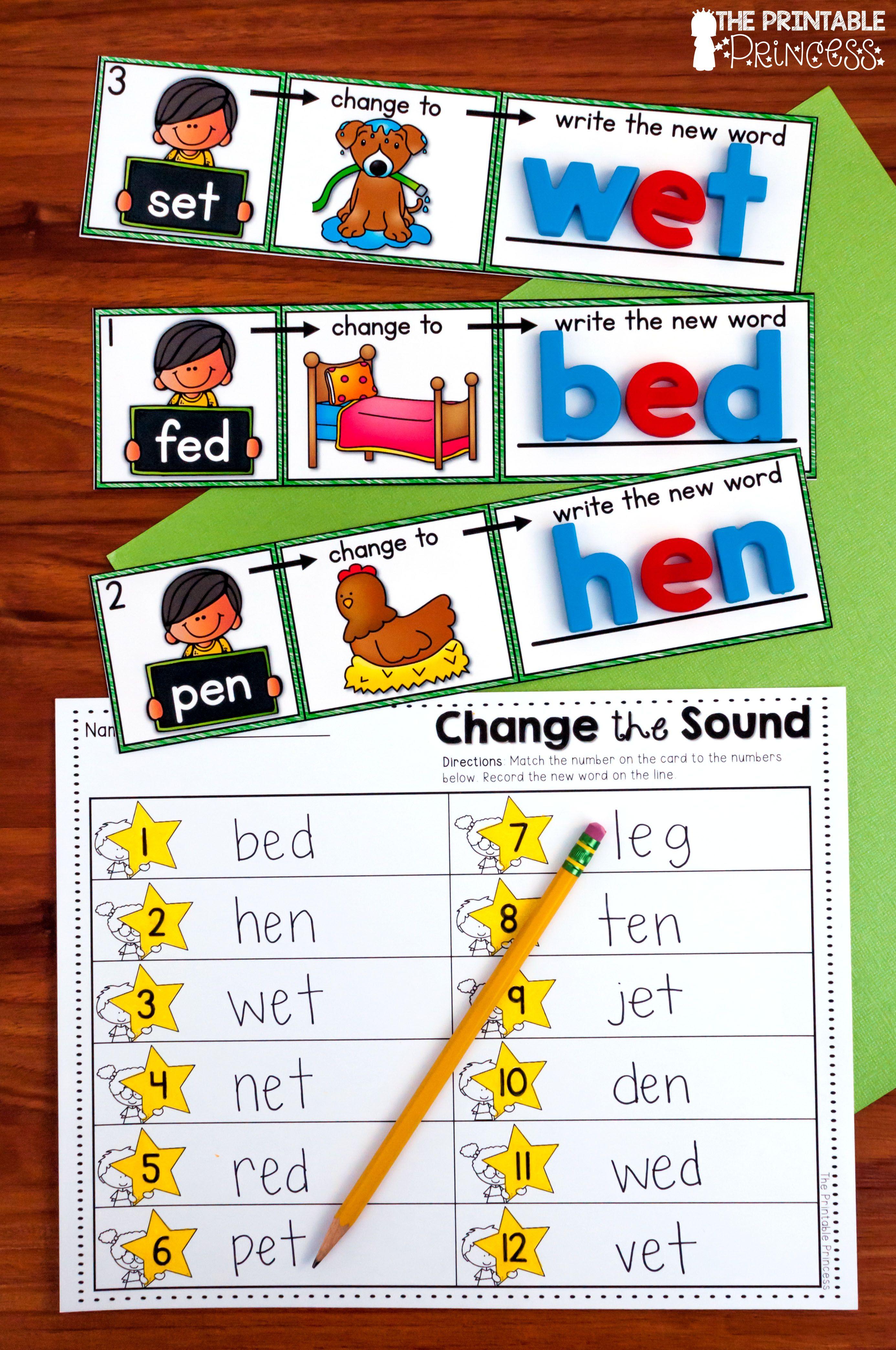 Cvc Words Phoneme Substitution Change The Beginning Sound