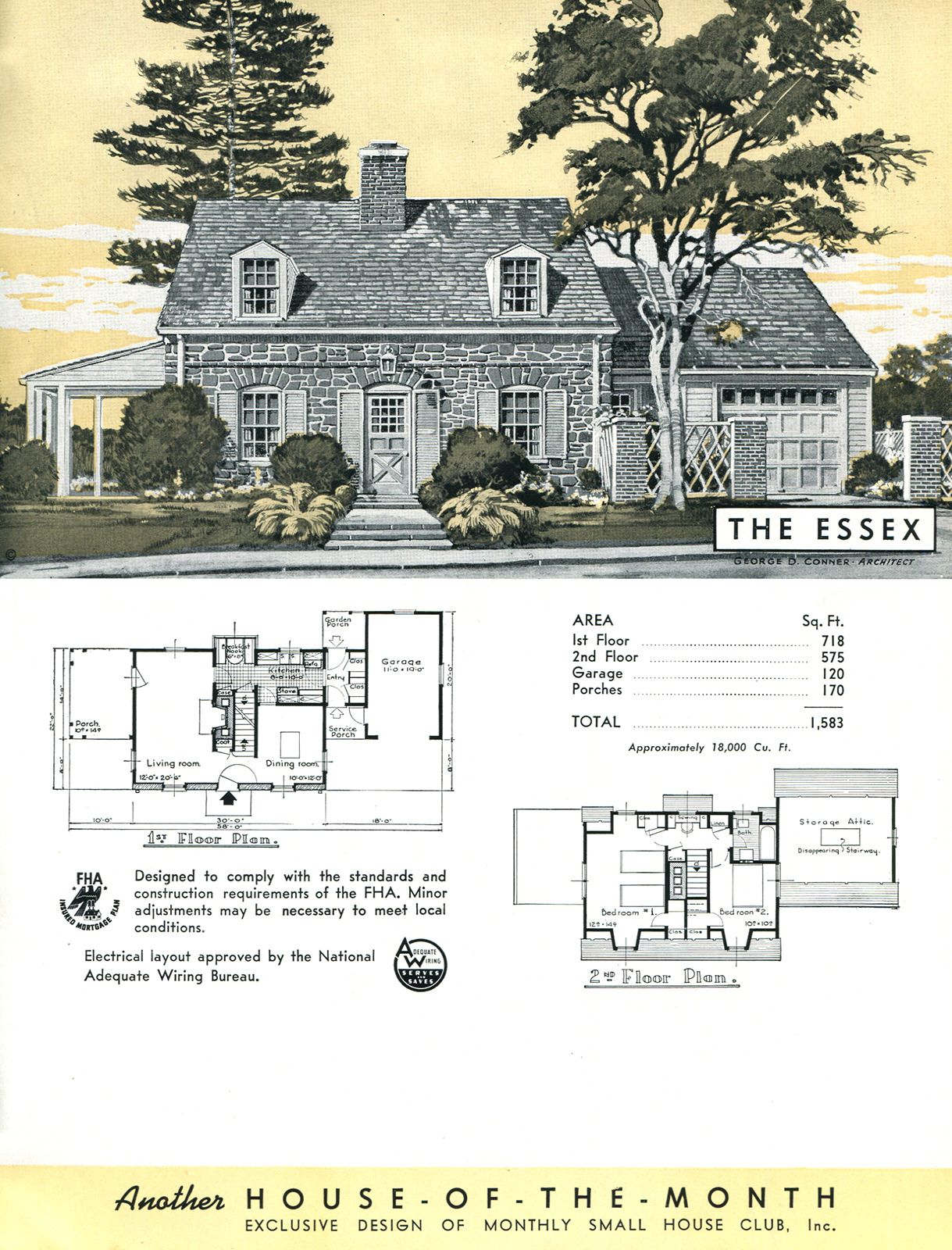 Vintage Home Plans United States C 1948 The Essex A Colonial Style Vintage House Plans Colonial Style Colonial House Plans