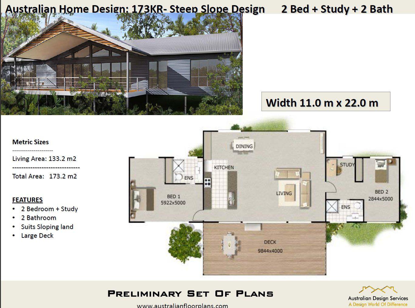 173KR2 Bed + Study Raised House Plan173.2 m2