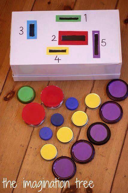 Forme e colori con una scatola da scarpe e cartone