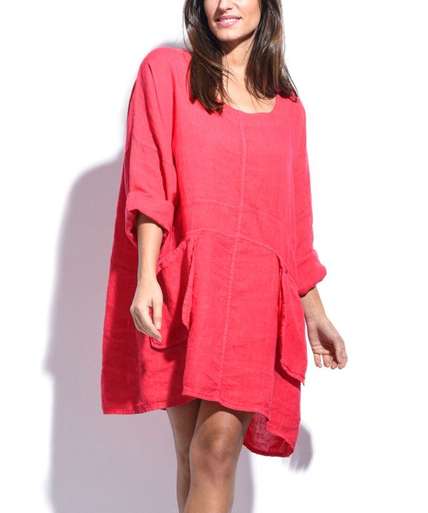 Look at this Couleur Lin Fuchsia Side-Pocket Linen Shift Dress on ...