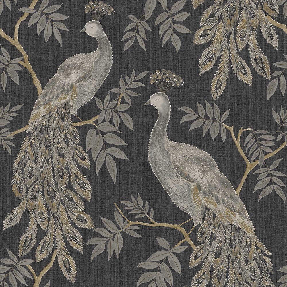 Lazzaro Black Wallpaper By Arthouse Peacock Wallpaper Pattern