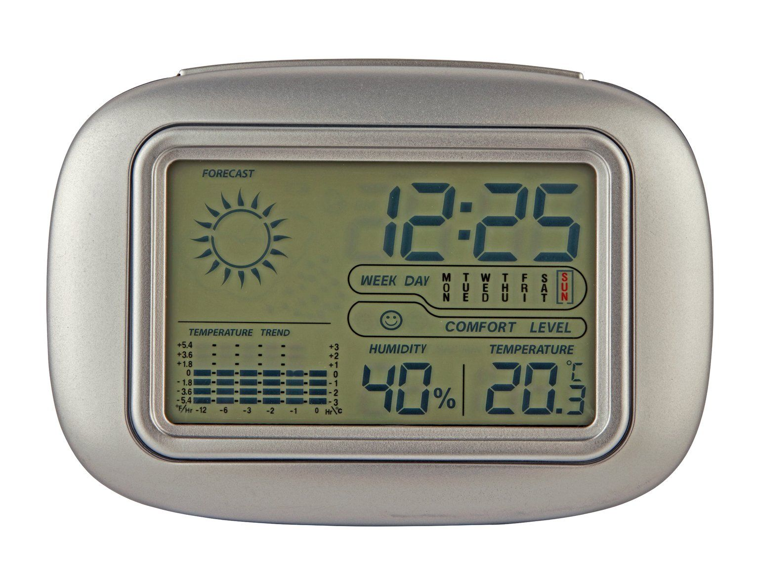Constant Weather Station Silver In 2020 Bedside Clock Digital