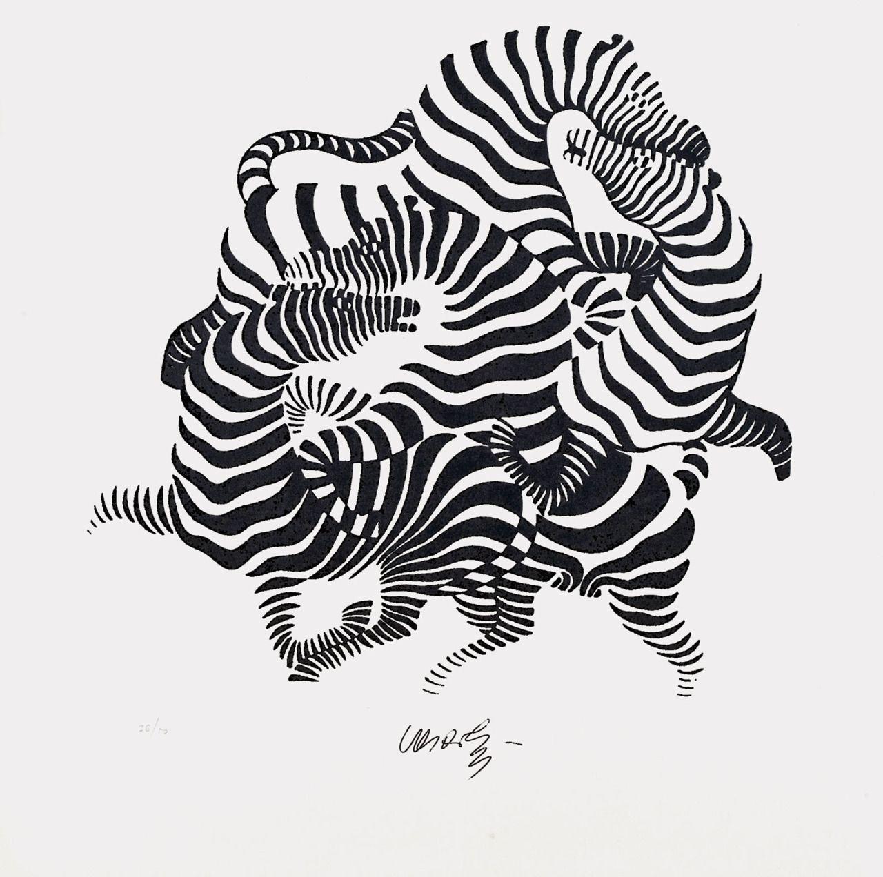 A0 zebra Canvas  vintage art print painting black white Victor vasarely large