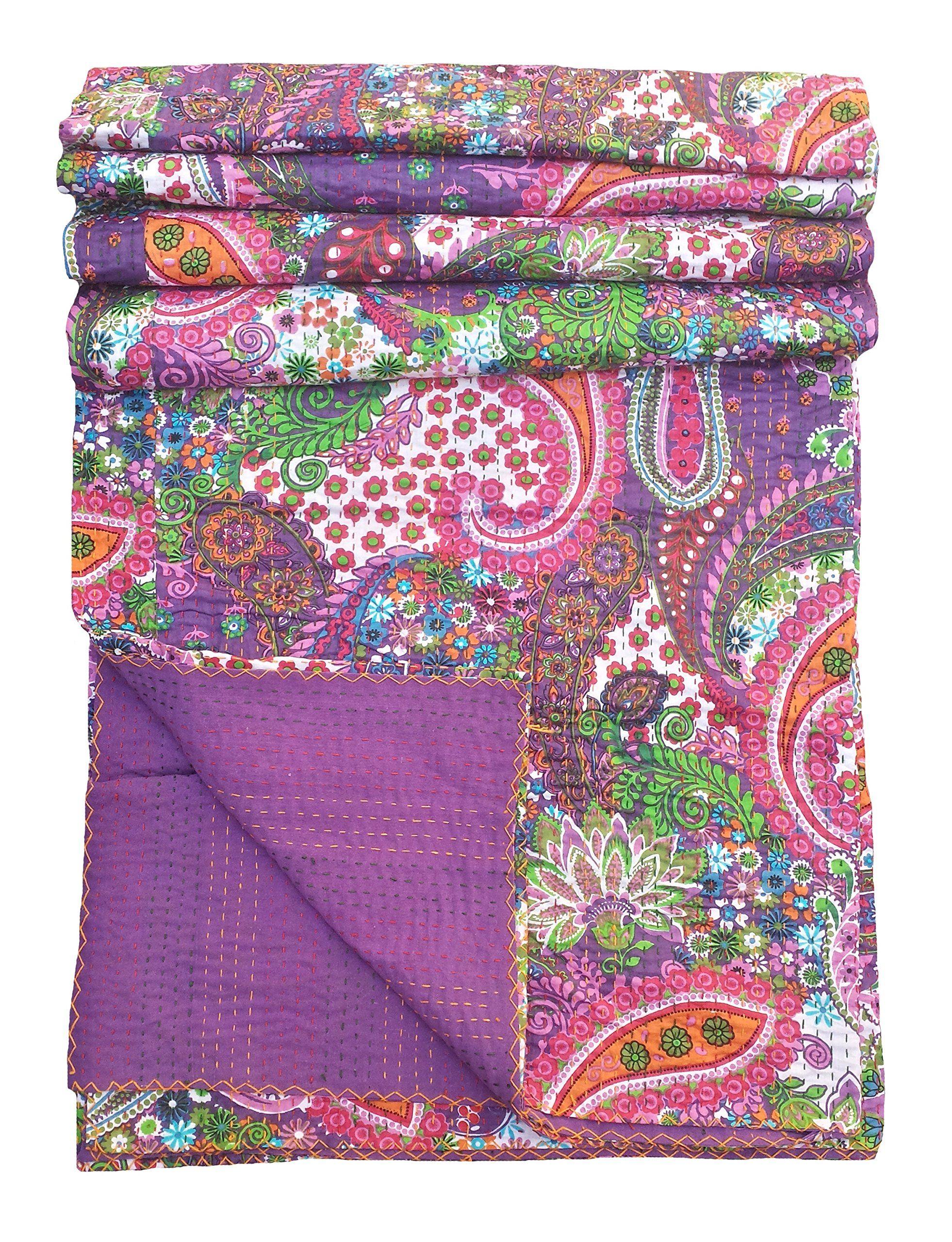 Kantha Quilt Bedspread Bed Cover Bedding Kantha Blanket Twin Kantha Quilt