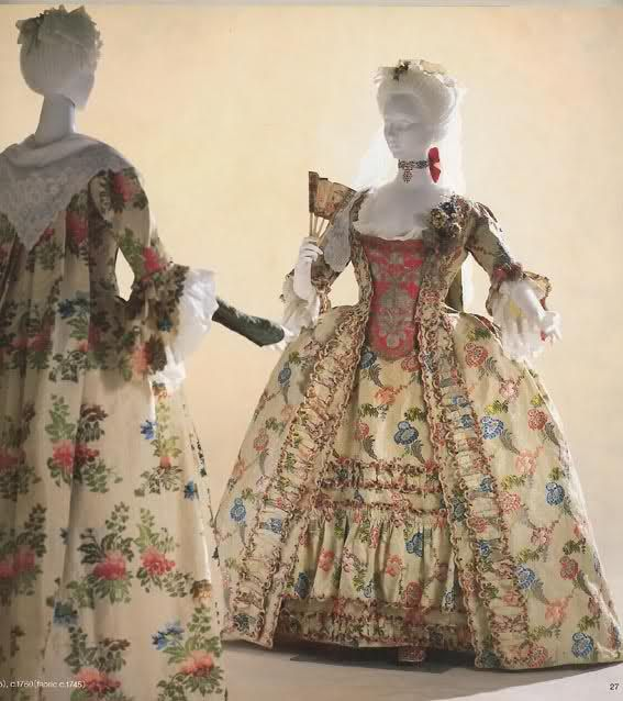 two dresses c1760 made of earlier fabrics c1735 & 1745 (Kyoto museum of costume)