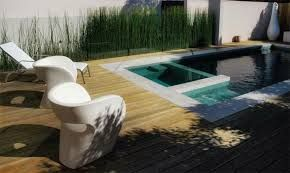 oval round pool in lawn with spa - Google Search