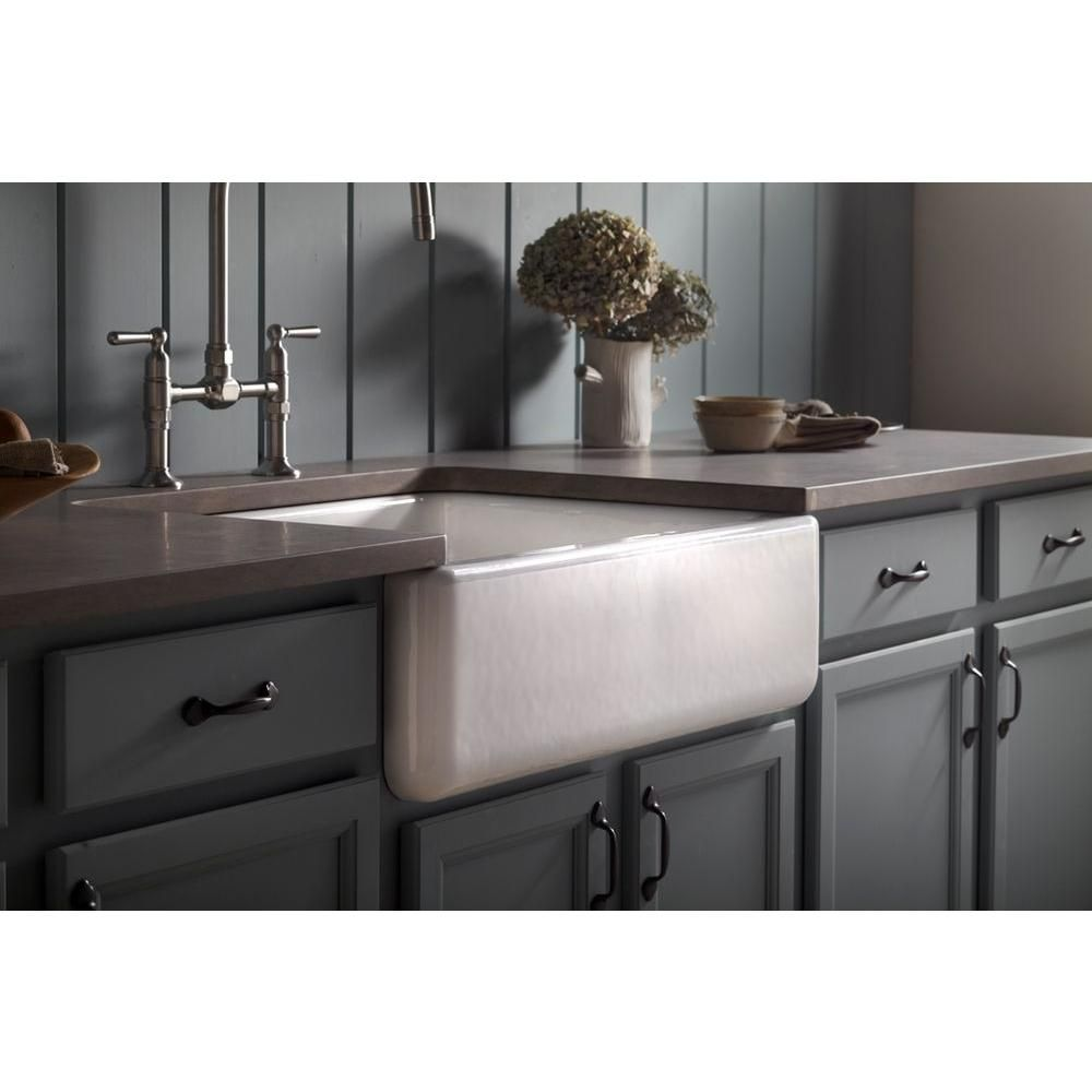 Kohler Whitehaven Farmhouse Undermount Apron Front Cast Iron 30 In Self Trimming Single Bowl Kitchen Sink In White K 6487 0 Single Bowl Kitchen Sink Best Kitchen Sinks Cast Iron Kitchen Sinks