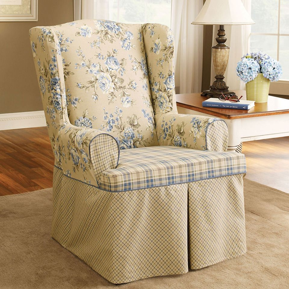 blue wingback chair slipcovers discount zero gravity surefit lexington wing slipcover in beyond the rack