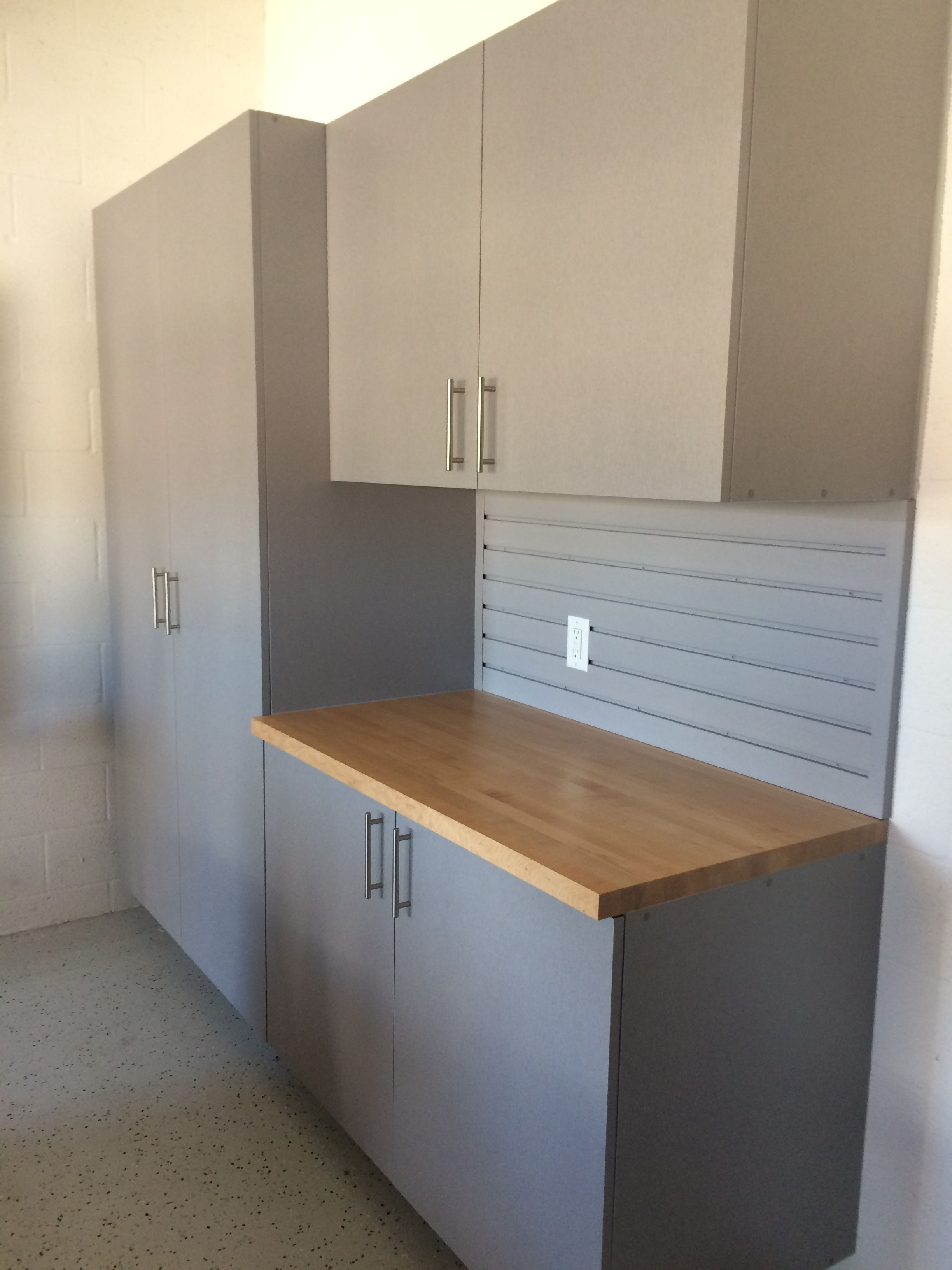 Silver Frost Garage Cabinets Butcher Block Top In Sarasota Florida Modern Garage Custom Cabinetry Home Decor
