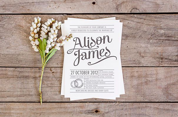 20+ Creative and Unique Vintage Wedding Invitations | Typography ...