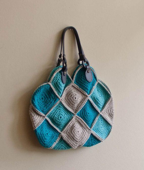 PDF CROCHET PATTERN Purse Higgledy-Piggledy - beige teal blue tote bag