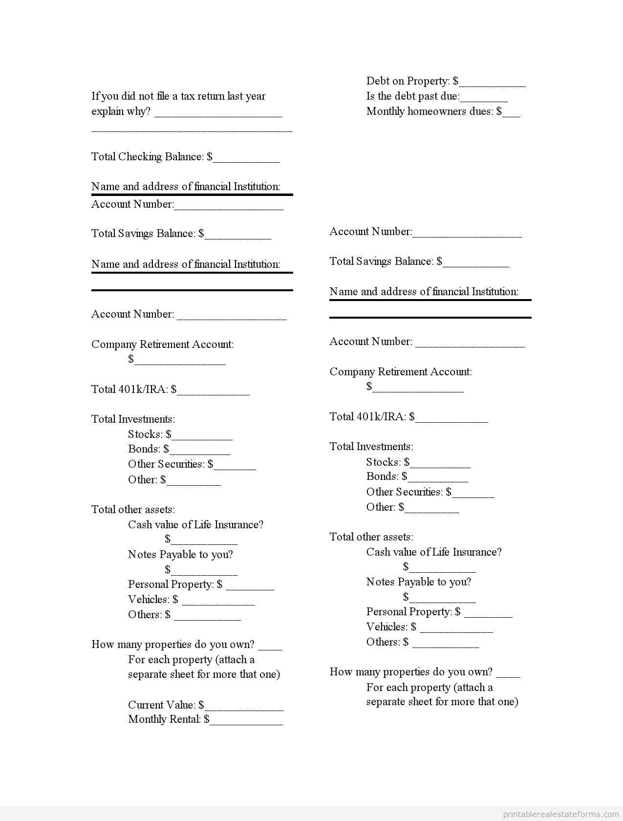 Printable financial statement 2 template 2015 – Statement Form Template