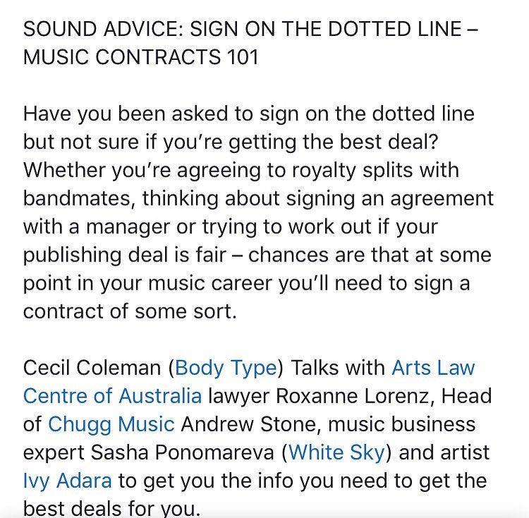 If You Re A Musician In Nsw This Wednesday 28th Get Along To Sound Advice Sign On The Dotted Line Music Contracts 101 Dotted Line Advice Understanding